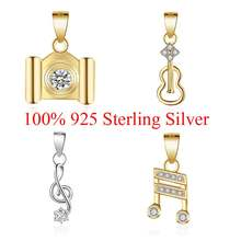 100% 925 Sterling Silver Music Note Guitar Airplane Camera Charm Pendant for Women's Necklaces Gift(China)