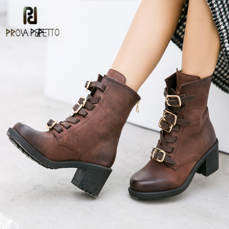 все цены на Prova Perfetto Ankle Boots for Women Buckles Martin Boot Platform Chunky High Heel Boots Female Genuine Leaather Botas Mujer