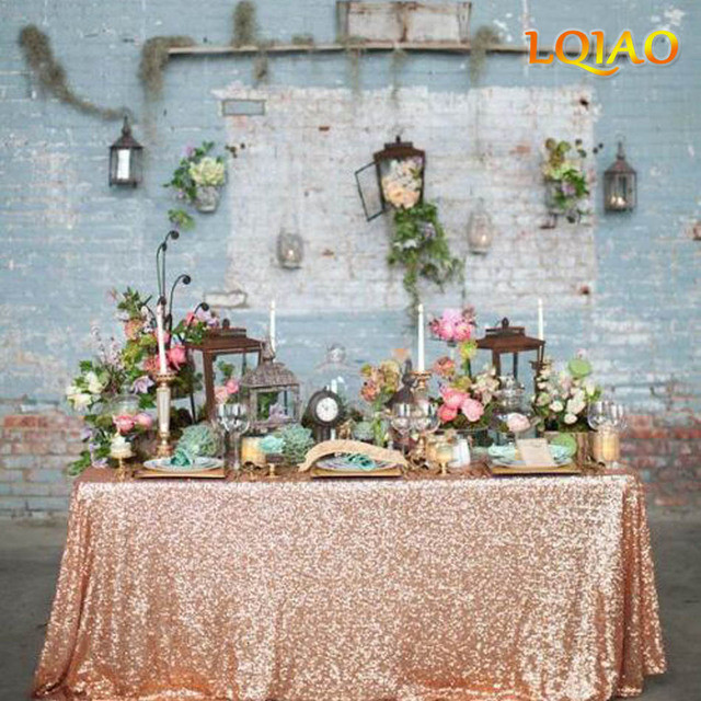2018 Glitter Rose Gold Rectangular Sequin Tablecloth 90inchx132inch For Wedding Cake Table Linens Decoration
