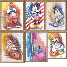 5D Diy diamante pintura de punto de cruz bordado de diamantes dormitorio de los niños de dibujos animados de Mickey Mouse punto mosaico pintura decoración QW659
