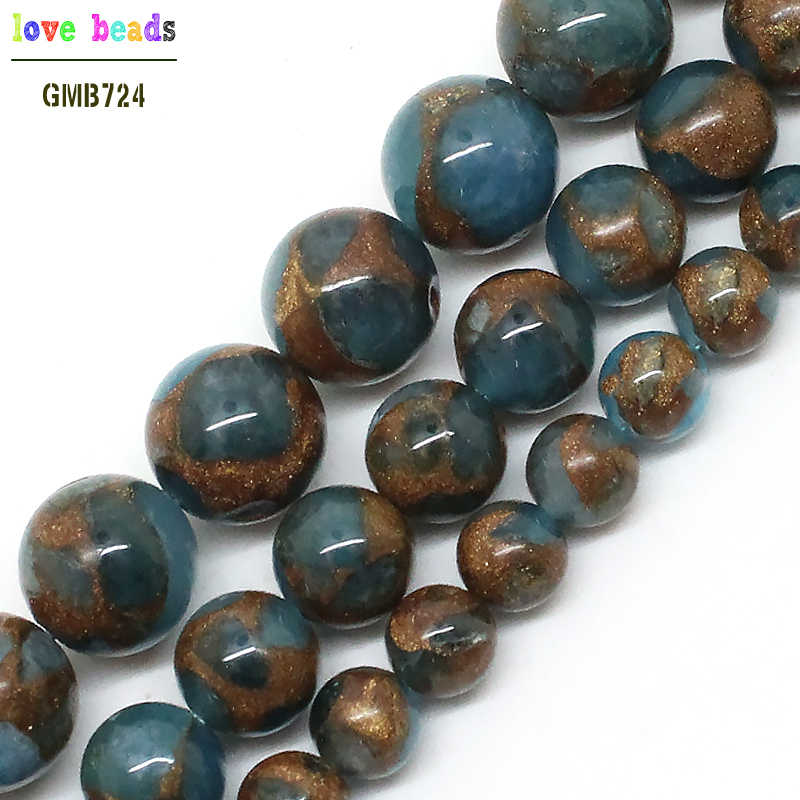 Natural Lake Blue Cloisonne Stone Round Loose Beads For Jewelry Making 6 8 10 mm Pick Size 15inches DIY Necklace (F00594)