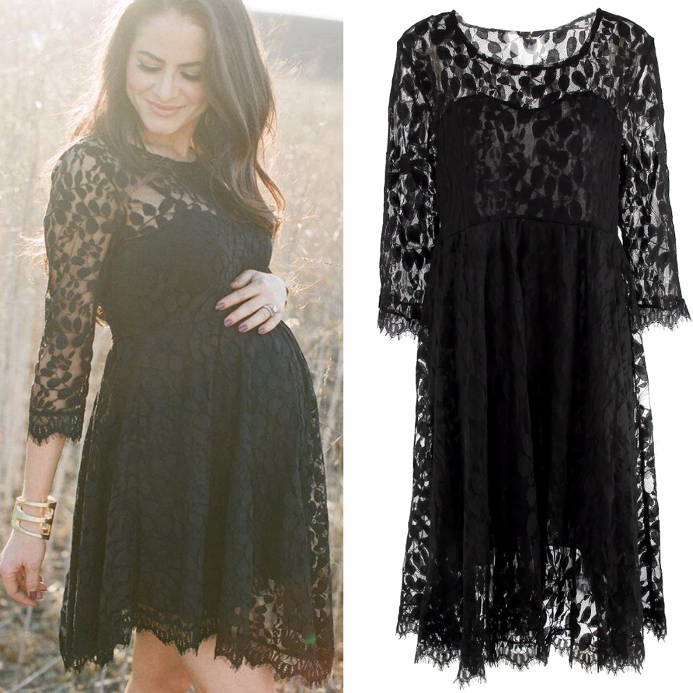 Puseky black lace maternity dresses long sleeve pregnancy dresses puseky black lace maternity dresses long sleeve pregnancy dresses clothes for pregnant women auntumn in dresses from mother kids on aliexpress ombrellifo Gallery