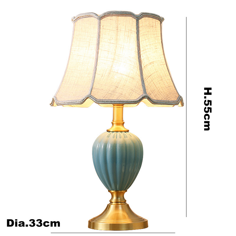 Toolery Classic table lamp copper model ceramic art decoration table light cloth lampshade lamp body study brass reading light