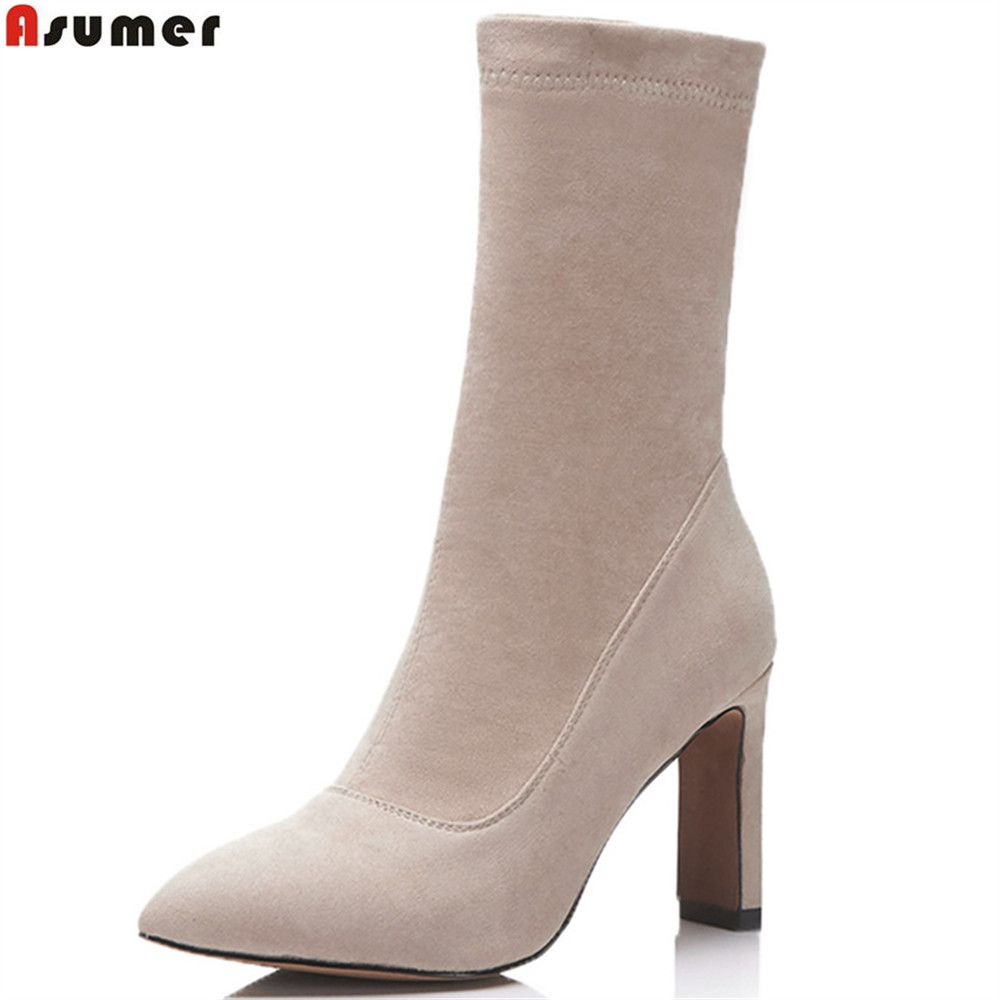 ASUMER black apricot green fashion women shoes pointed toe ladies boots thick heel flock spring autumn ankle boots big size women ankle boots 2016 round toe autumn shoes booties lace up black and white ladies short 2017 flat fashion female new chinese