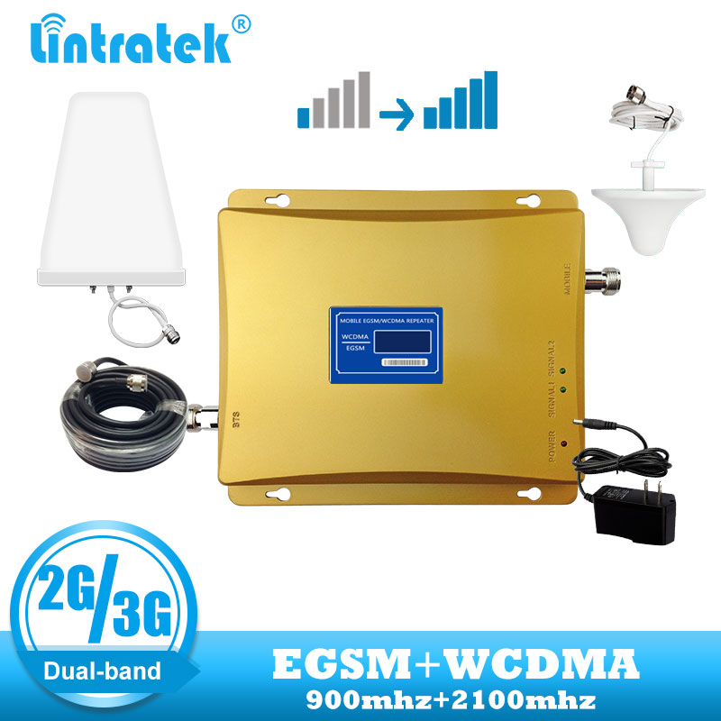 Lintratek Dual Band Mobile 2G 3G EGSM 900 WCDMA 2100 Mhz  Phone Signal Booster  3G UMTS Cellular Repeater 2G Antenna Set