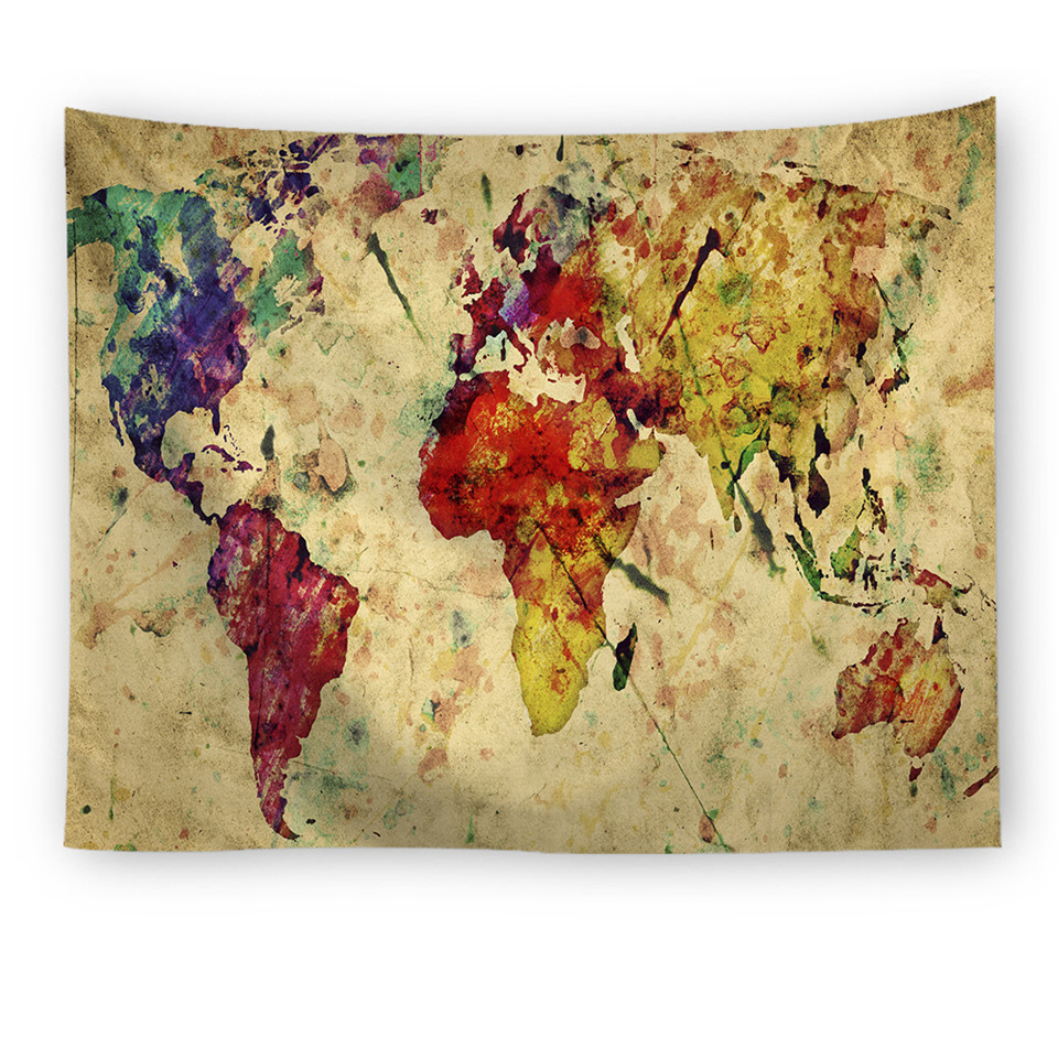 Cilected Vintage World Map Tapestry Wall Hanging Retro Hippie ...