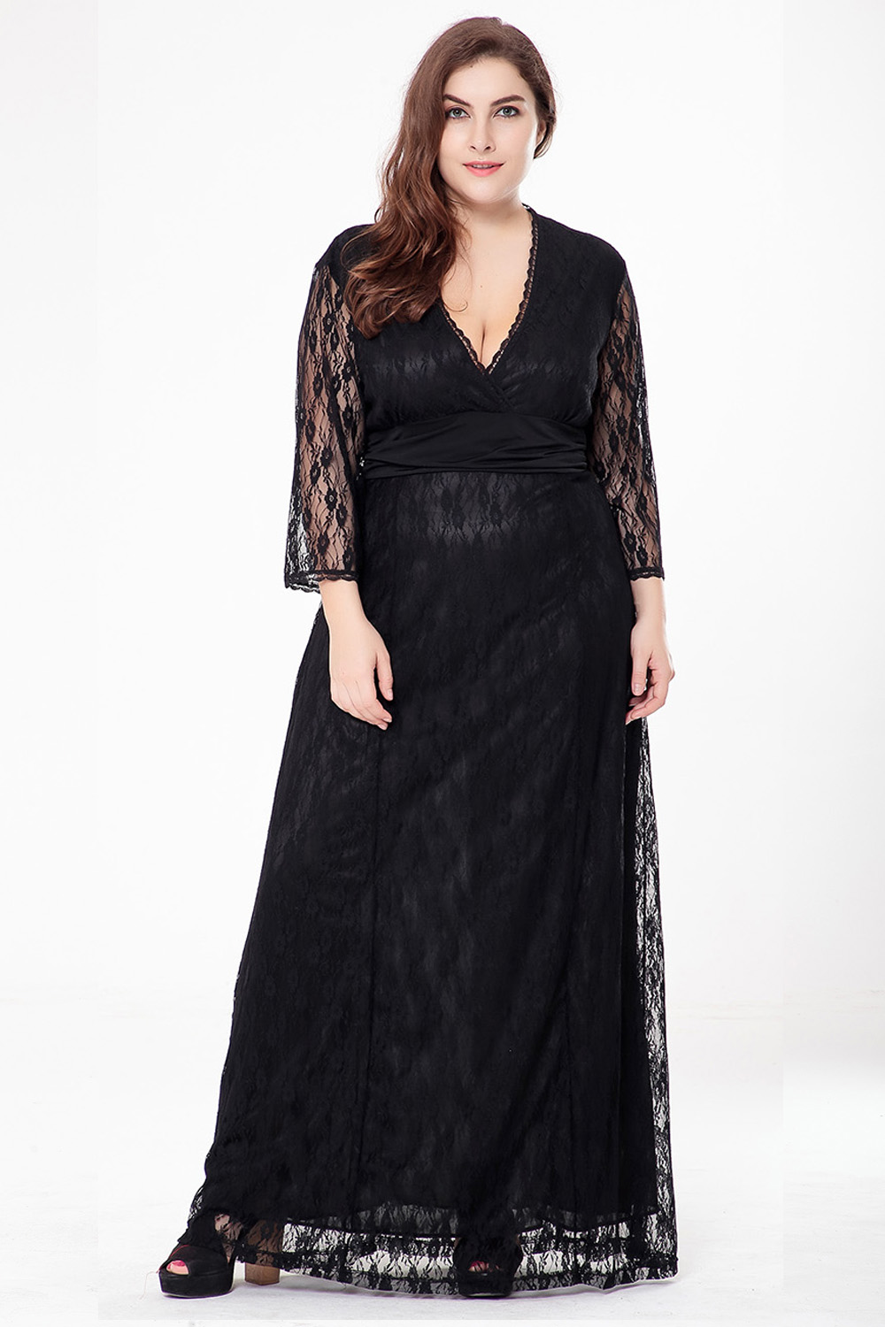 New Fashion Plus Size Lace Maxi Dresses Women Sexy Three -4969
