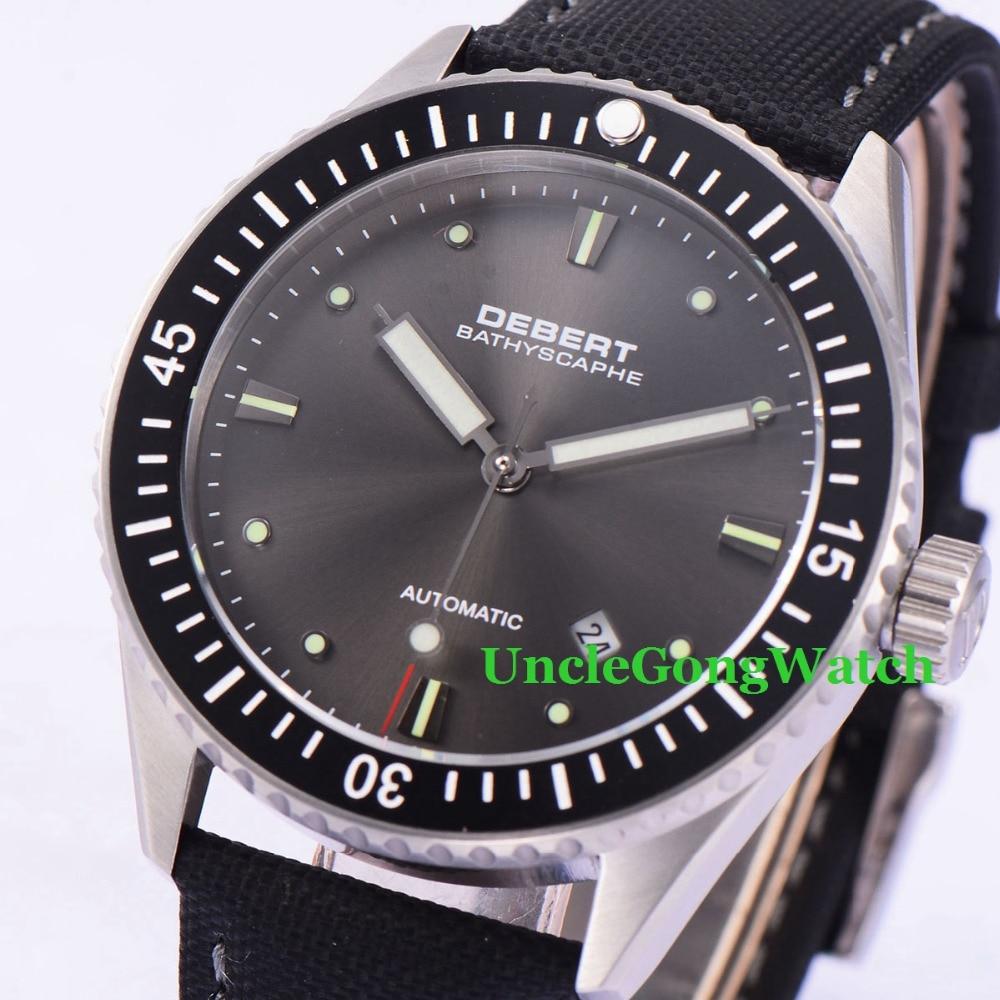 купить Debert 43mm Black Dial Rotatable Bezel WristWatches Sapphire Glass Orologio Miyota Movement Mens Automatic Relojes DT7032SBK по цене 9620.73 рублей
