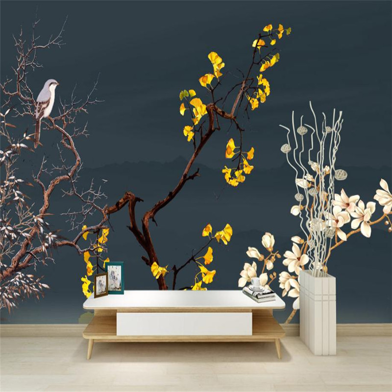 Modern Custom Wall Picture 3 d Flower Wallpaper Yellow Black Living Room Bedroom Decor House Wall Mural Plum Blossom Bird Tree dirt road design 3 d large sitting room the bedroom room corridor screen maple mural wallpaper background picture papeles pintad