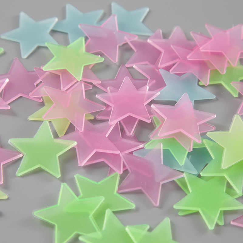 LoveCCD 100pcs/Bag 3D Stars Glow In Dark Luminous Fluorescent plastic Sticker Light-emitting DIY fluorescent stickers J17#2
