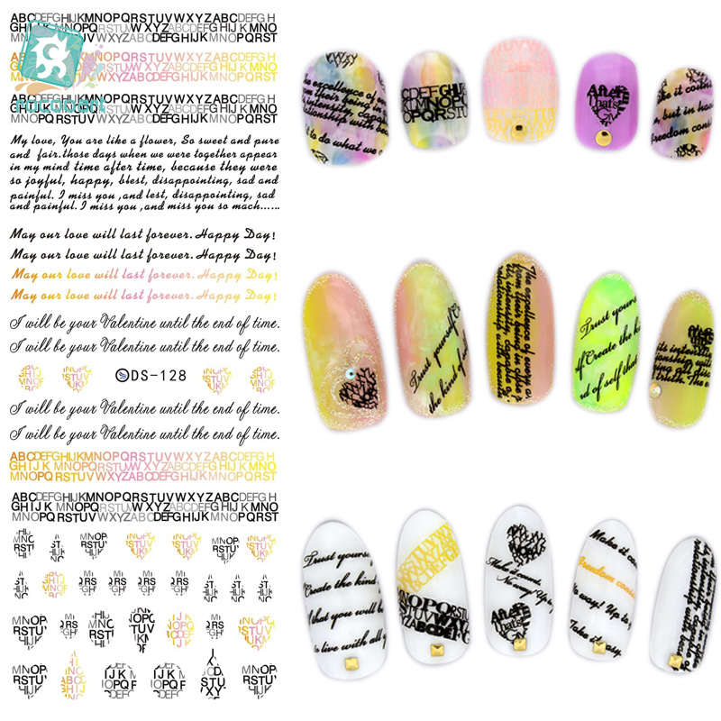 DS128 2015 New Water Transfer Nails Art Sticker English Letter Little Element Nail Wrap Sticker Tips Manicura nail foil transfer