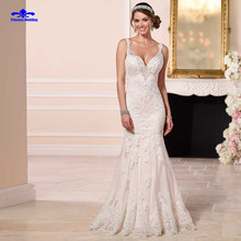Hot Sale Sexy V Neck Gowns Bride Dressess Luxury vestido de noiva Vintage Custom Made Lace Wedding Dresses Sexy Mermaid 2017