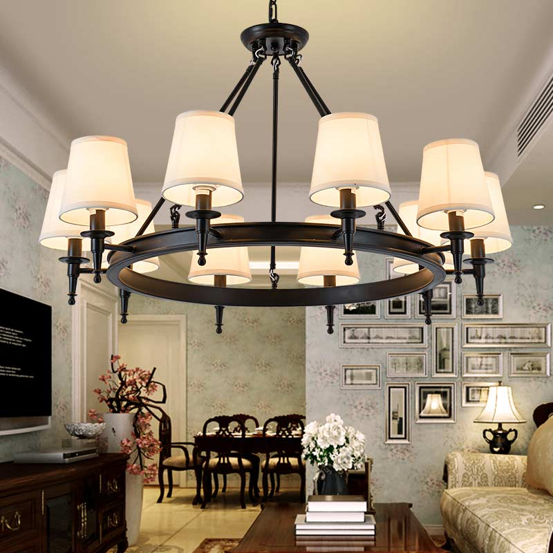 Modern Chandeliers Living Room Bedroom Foyer Light Fixtures Fabric Lampshade Lamp Decor Home Lighting Black Lustre