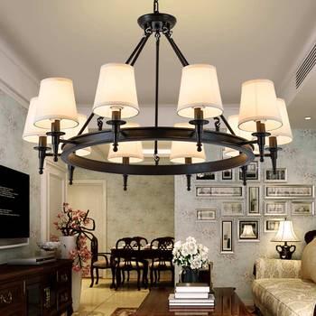 Modern Chandeliers Living Room Bedroom Foyer Light Fixtures Fabric Lampshade Lamp Decor Home Lighting Black Lustre E14 110-220V