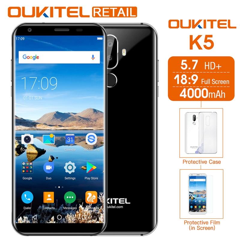Oukitel K5 5.7 inch 18:9 HD+ MT6737T Quad Core Mobile Phone Android 7.0 2GB 16GB Dual Cameras 4000mAh Fingerprint 4G Smartphone