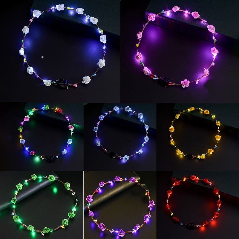 Women Girls LED Light Up Flower Headband Flashing Glow Crown Party Hair Wreath
