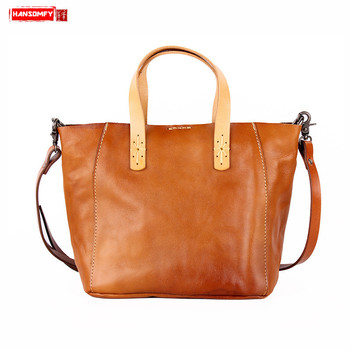 HANSOMFY New retro genuine leather women handbags First layer leather female shoulder bag Vegetable tanned leather messenger bag
