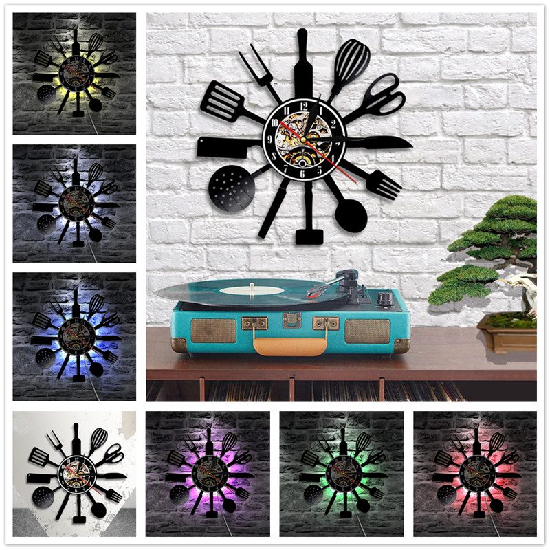 Home Living LED Lighting Vinyl Record CD Wall Clock Modern Style Scissor LED Art Stickers Quartz Watch Decoration for Home