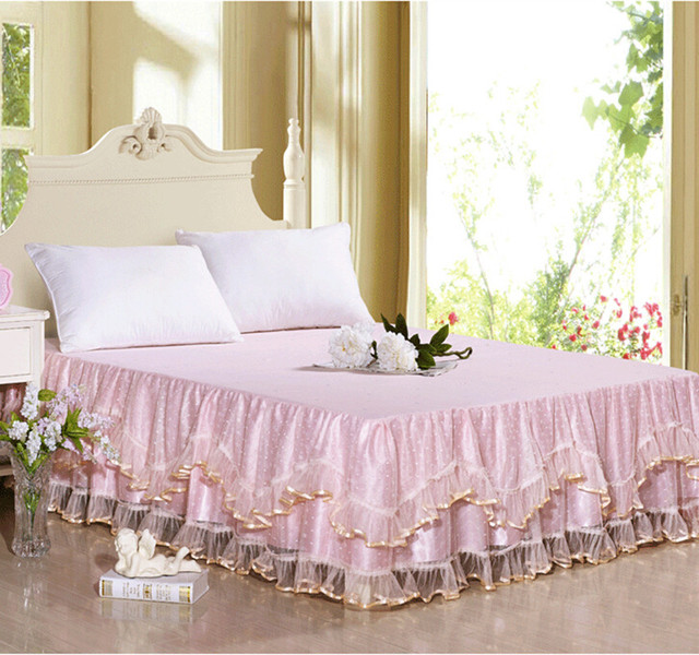 Summer New Bedclothes Fancy Lace Mattress Cover Rustic Princess Bed Skirt Sheet Bedspread Bedding