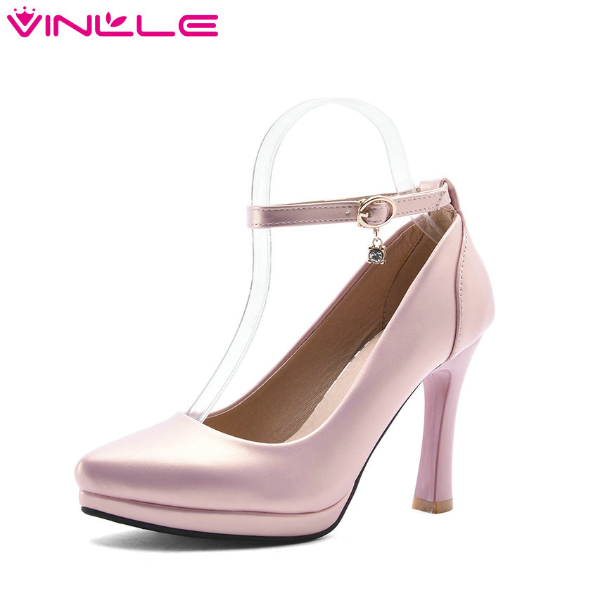 VINLLE 2017 Women Pumps Summer Ladies Shoe Thin High Heel Pointed Toe Rhinestone PU Leather Woman Wedding Shoes Size 34-43 vinlle 2017 sweet rome style women pumps party summer shoes pointed toe square low heel lace up wedding woman shoes size 34 43
