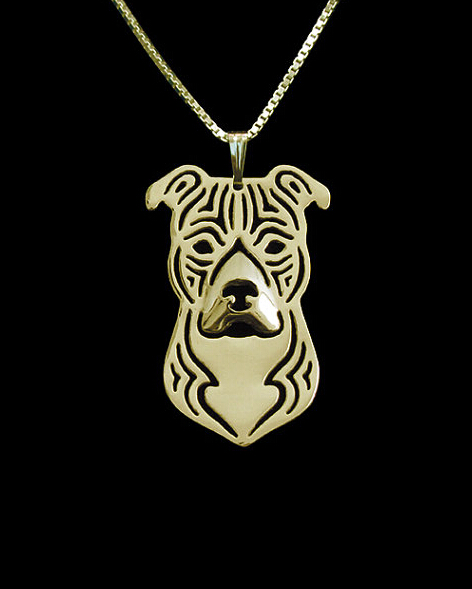 Necklace fashion pit bull pendant Silver gold   colors