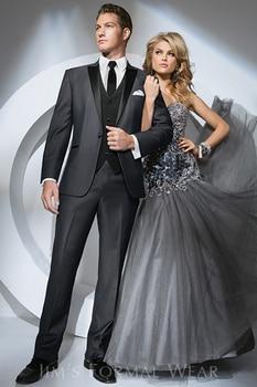 Custom Made Mens Suits Peak Lapel Groom Tuxedos Dark Grey Wedding Best Man Suit (Jacket+Pants+Tie+Vest+Hankerchief) A8