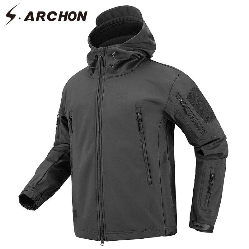 S. ARCHON осень Военная Униформа флисовая куртка для мужчин's Softshell армия тактический костюмы Multicam Мужской сплошной ветровки с капюшоном куртки