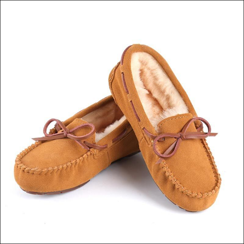 2019 Shoes Women Winter Warm 100% Genuine Leather Flat Shoes Casual Loafers Slip On Women's Flats Plush Shoes Moccasins Lady