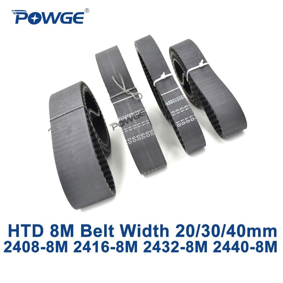 POWGE HTD 8M synchronous Timing belt C=2408/2416/2432/2440 width 20/30/40mm Teeth 301 302 304 305 HTD8M 2408-8M 2416-8M 2440-8M cliff нк 302 40