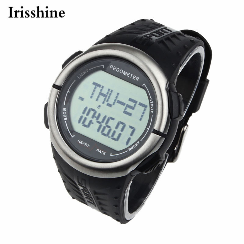Irisshine I0898 Unisex Sport Watch Wan Couple Waterproof Digital 3D Pedometer Calories Counter Pulsometer Heart Rate Monitor LED