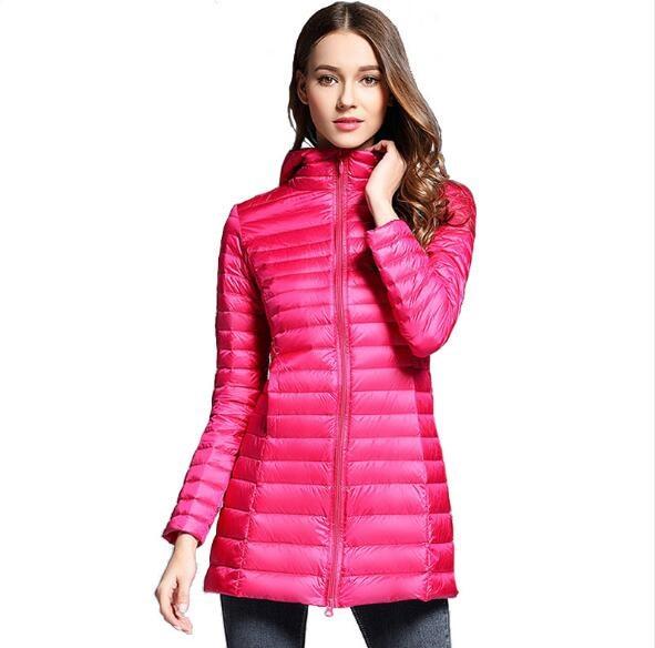 Hot Sale   Down     Coat   Woman 2019 Winter Long Fashion White Duck   Down   Zipper Slim Thin Women   Coats   Outwear Portable Windproof