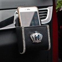 Стайлинга автомобилей Корона Crystal кожа автомобилей открытый мусорный ящик мобильного телефона Ручка для мешка для хранения Чехол автомобильные аксессуары