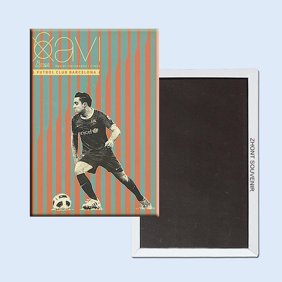 vintage retro poster de barcelona futbol xavier hernandezi creus ims de geladeira fan presente