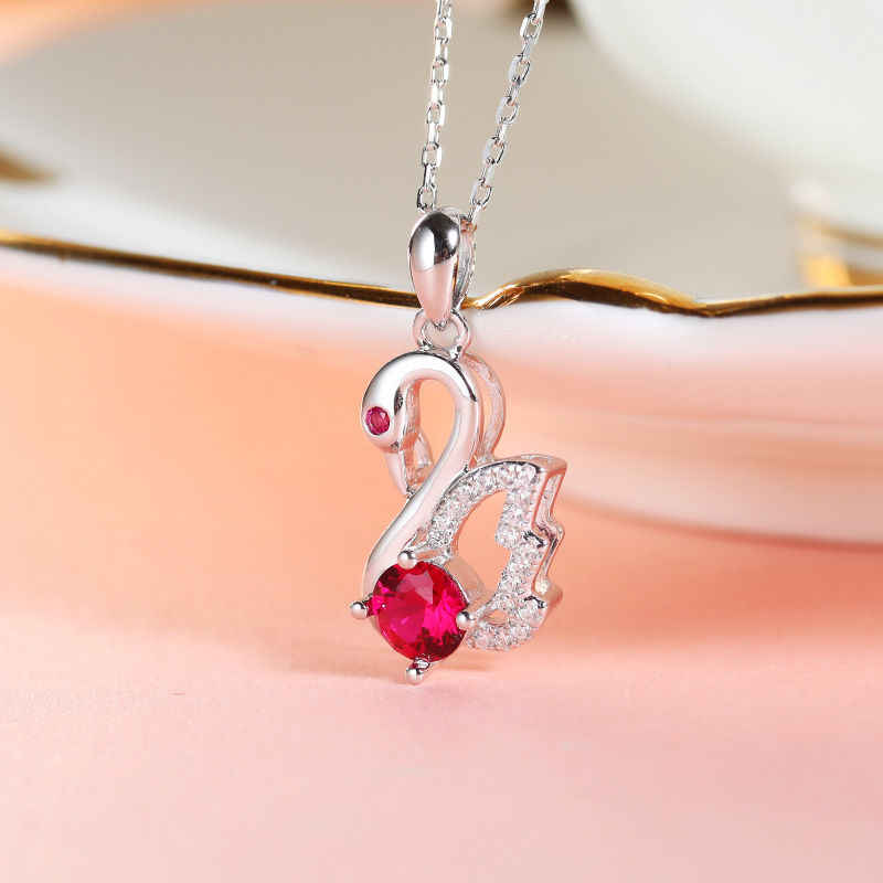 DAIMI Swan Pendant Necklace Real 925 Sterling Silver Cubic Zirconia Necklace For Women