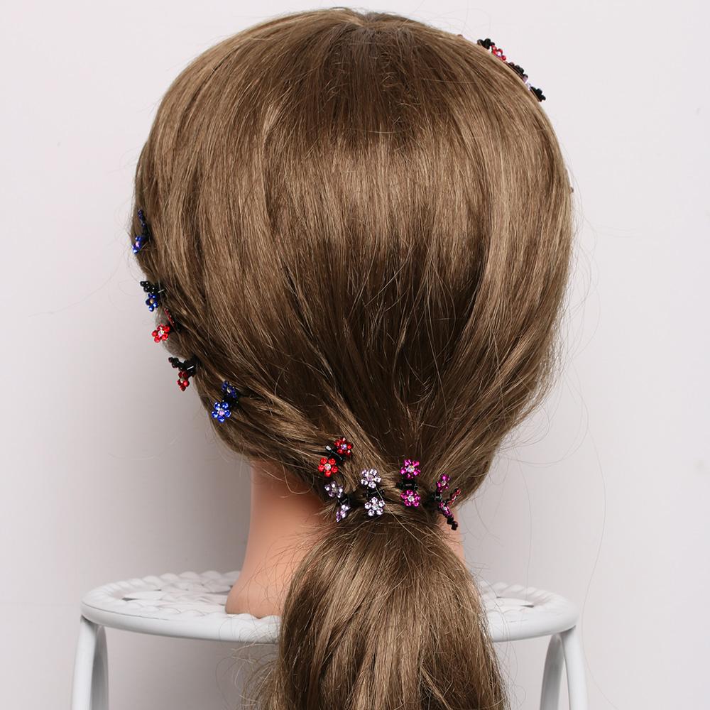 HTB1jQJMQVXXXXbCXFXXq6xXFXXXm Bejeweled 12-Pieces Rhinestone Crystal Flower Mini Barrette Hair Claw For Women - 7 Colors