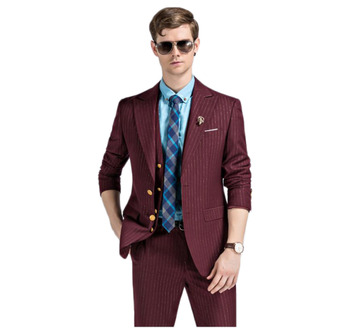 2017 New Stripe Burgundy/White Gentlemen Style Business Men Suits Groom Men Best Men Wedding Tuxedos (Jacket+Pants+Vest+Tie)