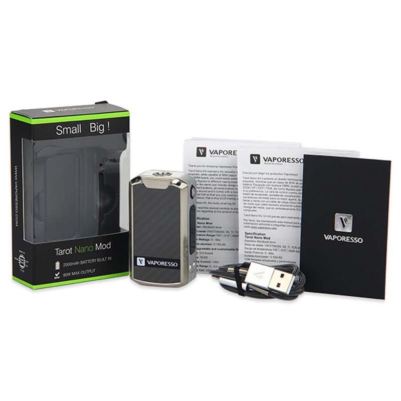 Prix pour D'origine 80 W Vaporesso Tarot Nano TC Boîte MOD Batterie 2500 mAh Costume 2 ml VECO EUC Réservoir 510 Tarot Nano Batterie Électronique Cig VA01