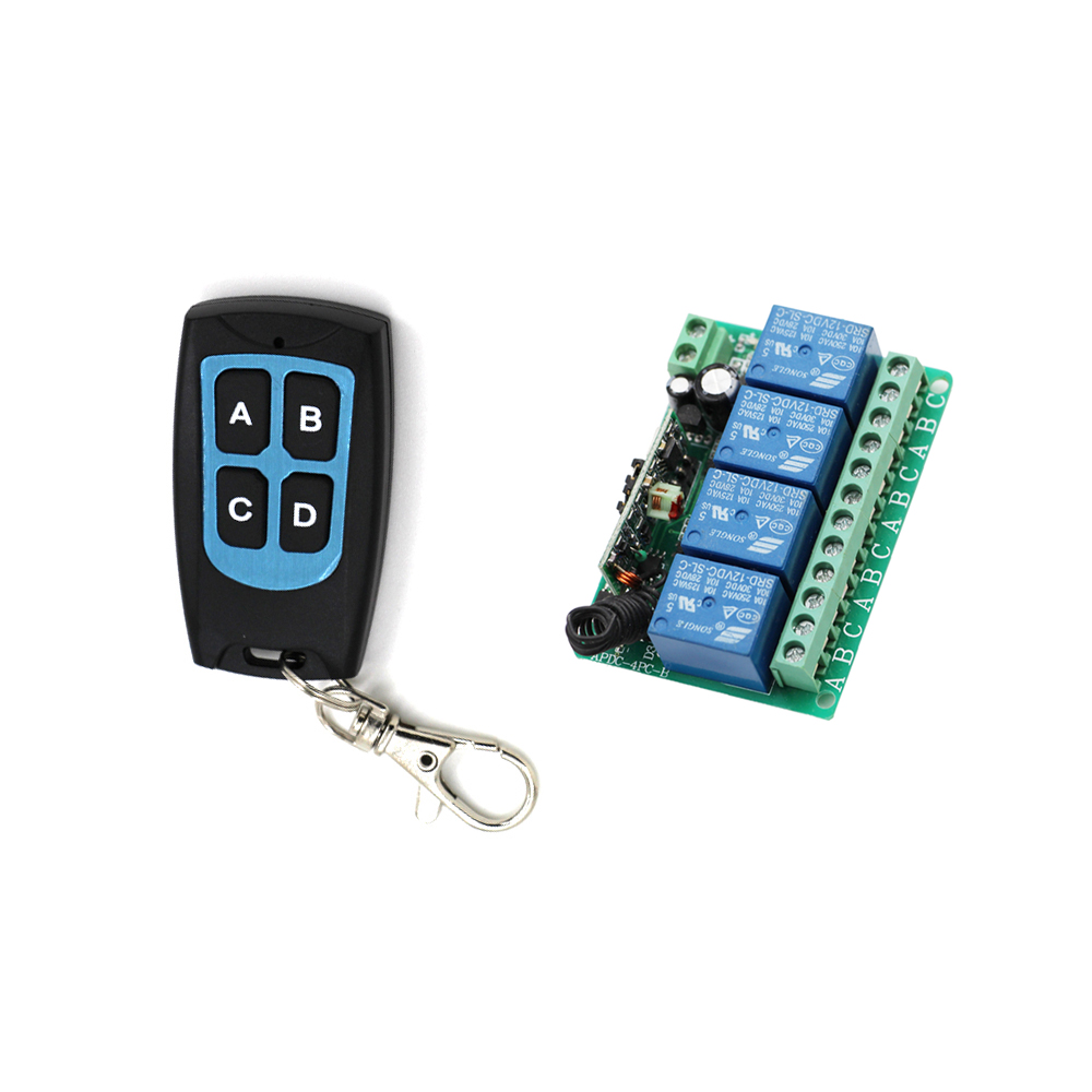 DC12V 10A 4CH RF Wireless Relay Remote Control Switch 315/433 MHZ Transmitter Waterproof & Receiver for Garage Door Window Lamp dc12v 6ch 10a wireless rf remote control switch transmitter receiver for appliances gate garage door window lamp