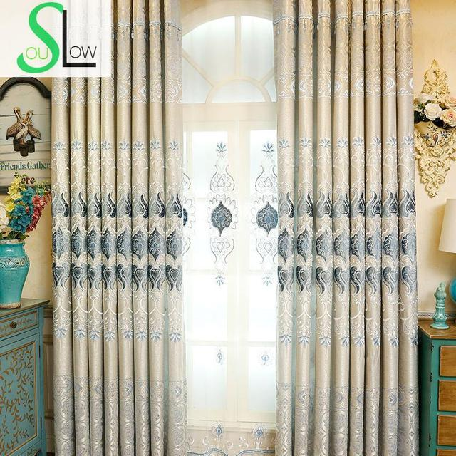 Slow Soul Blue Curtain Tulle Curtains Roman Embroidered French Window For Living Room Kitchen 3d Bedroom