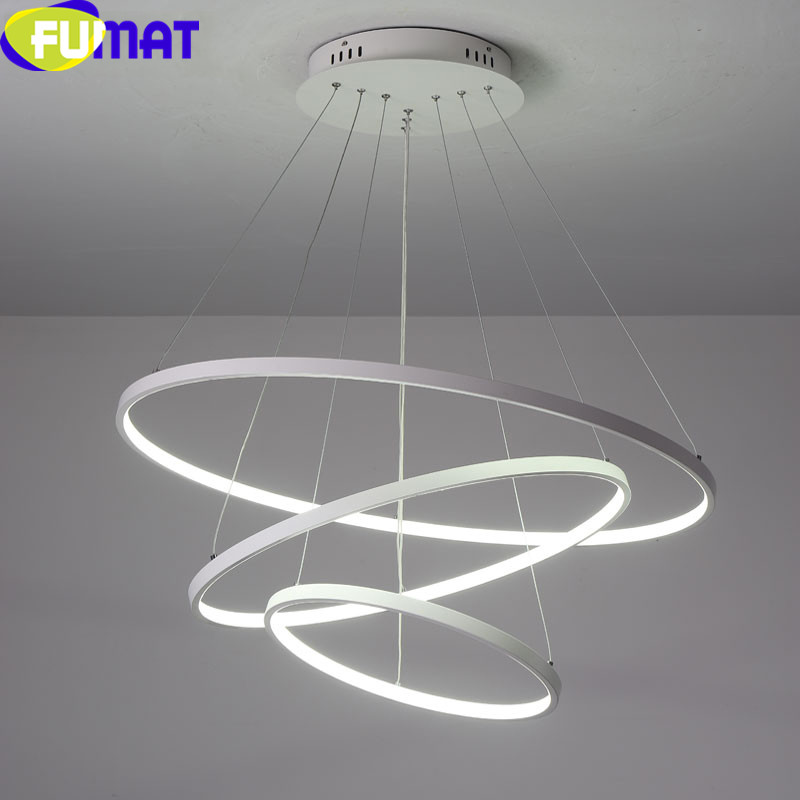 FUMAT PVC Lampshade Pendant Lights for Living Room Dinning Room Bedroom Lampara Aluminum Circle Rings Modern LED Hanging Lamp|Pendant Lights| |  - title=