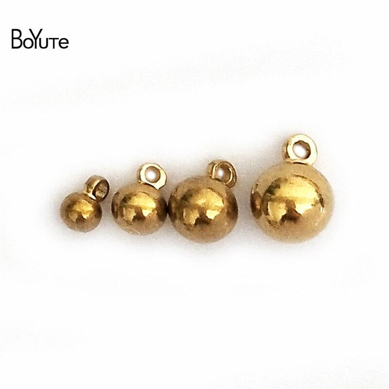 Металлические шарики BoYuTe, из твердой латуни с петлей для изготовления ювелирных изделий, 100 шт., 3 мм, 4 мм, 5 мм, 6 мм|beads with loop|pendant beadsbeads beads | АлиЭкспресс