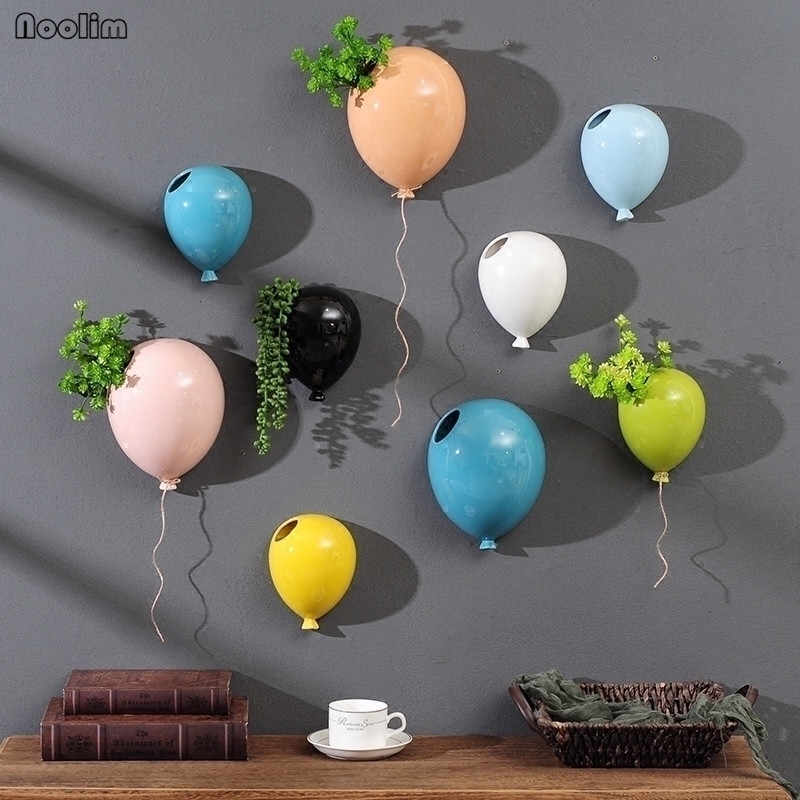 NOOLIM Creative American Ceramic Balloon Wall Hanging Flower Pot Children's Room Wall Hanging Flower Vase Home Wall Decoration