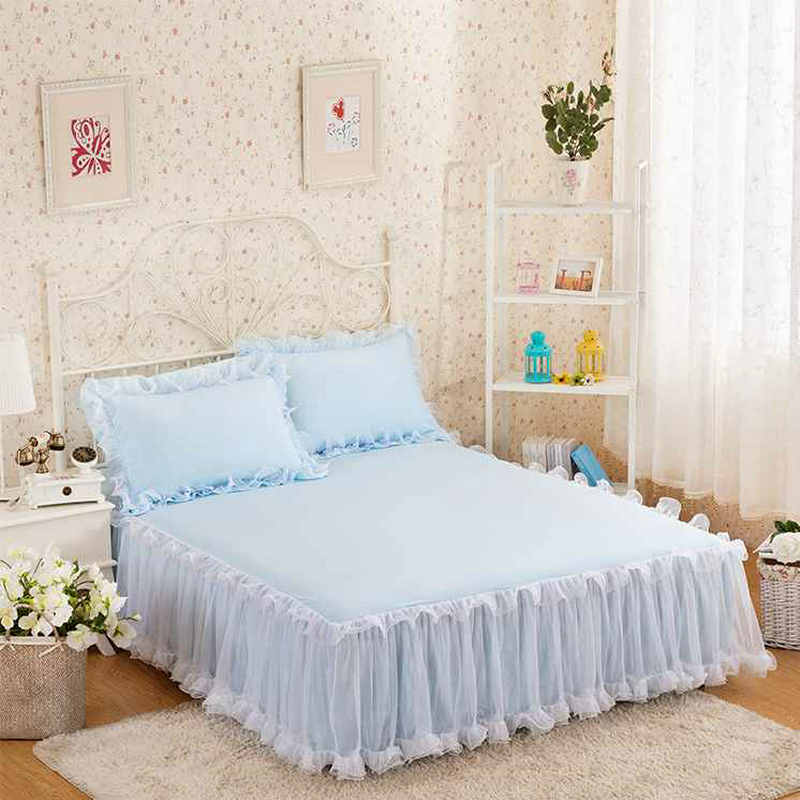 New Princess Bedding Bed skirt Romantic Lace Bedclothes Bed Cover Girls Wedding Bedspread bed sheet Home decoration Full/Queen