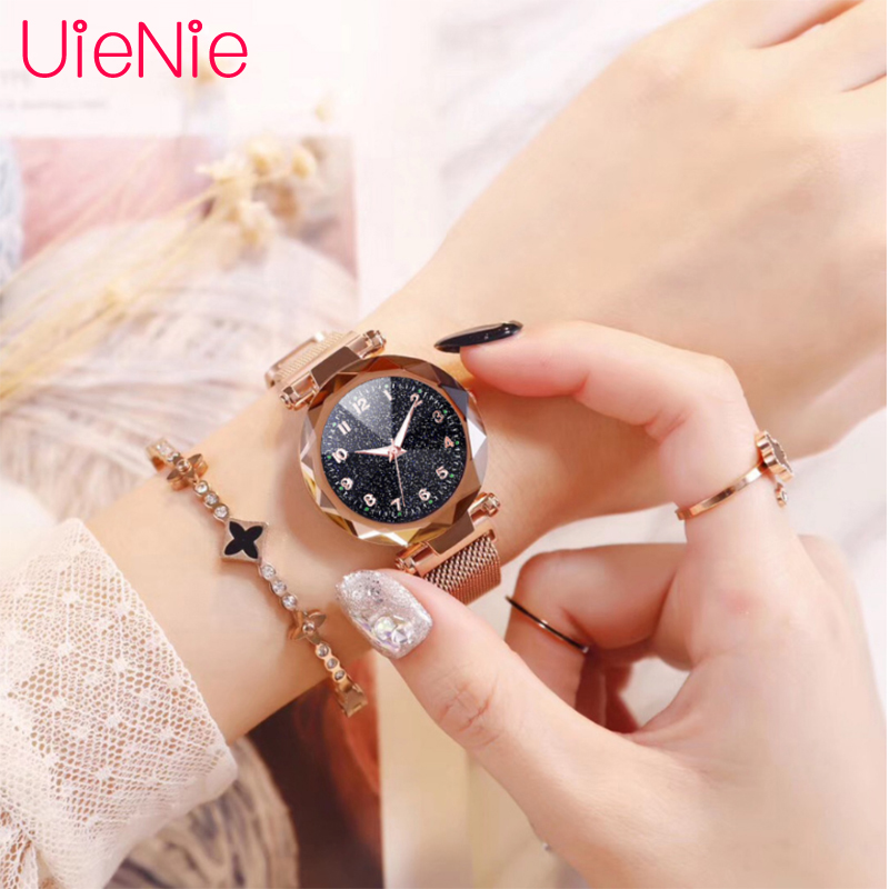 Women Watch Fluorescence Starry Sky Numeral Milan Magnet Buckle Luxury Fashion Ladies Geometric Roman Numeral Quartz Watch