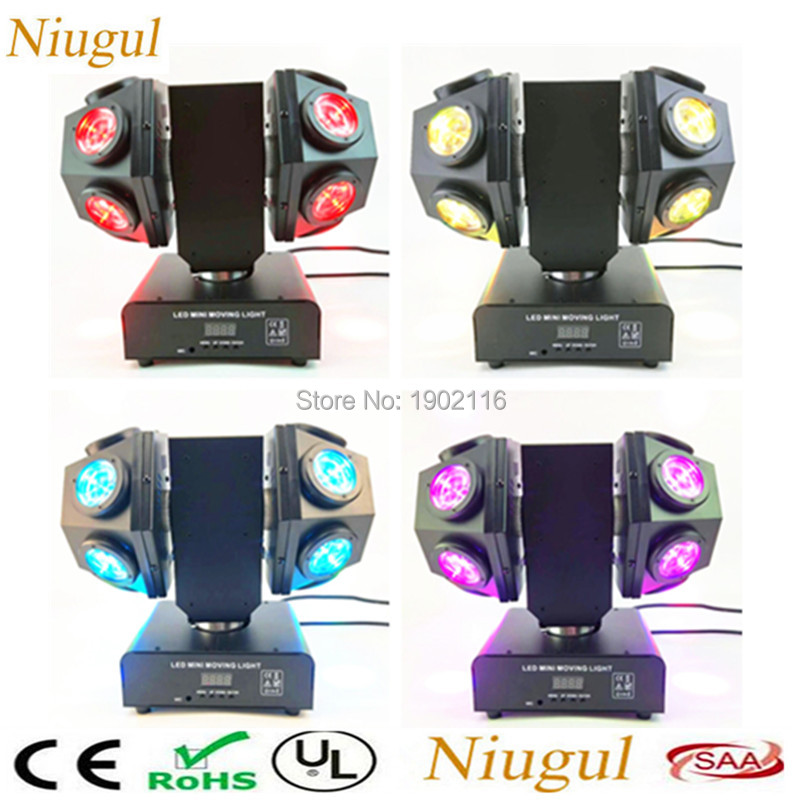4pcs 12x10W RGBW Head Moving head beam Double Arms stage light 4IN1 LED Double Wheels Beam effect stage lights Disco DJ lighting