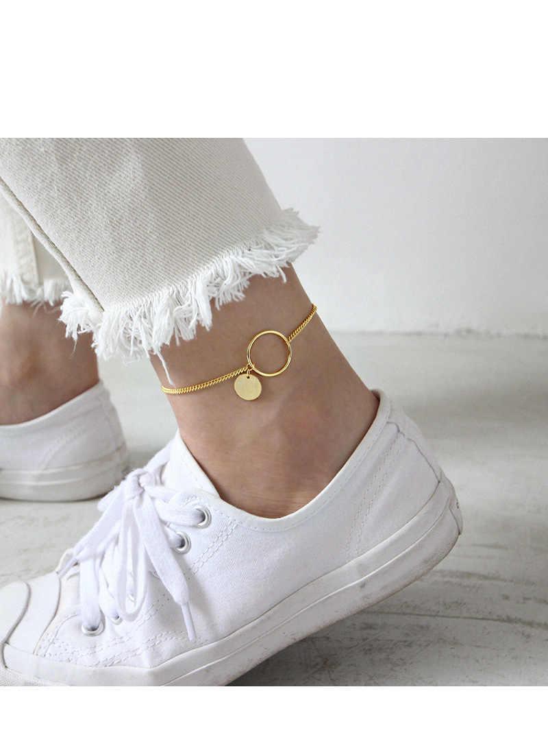 100% Серебро 925 пробы женские браслеты для щиколотки 2019 Золото Круглый Кулон покрытый ножные браслеты с цепочкой бижутерия для ног браслет ножная цепочка enkelbandje