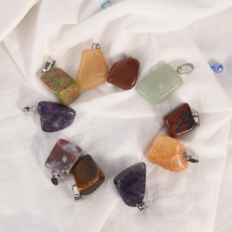 Assorted Natural Stone Pendants Point Charms For Necklace Bracelet Charm Women Jewelry Randomly 1pc