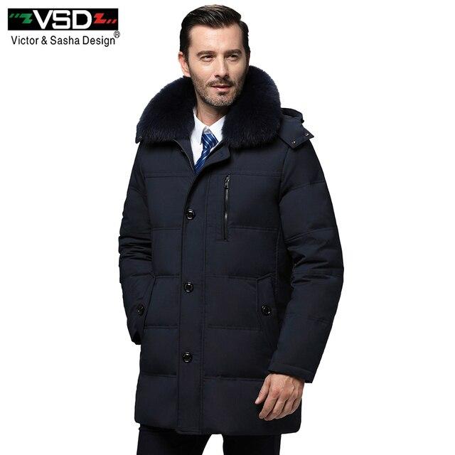 VSD Новинка зимы утка пуховик натуральный меховой воротник Мужская Мода Высокое качество отец Костюмы повседневные куртки утепленные парки V970