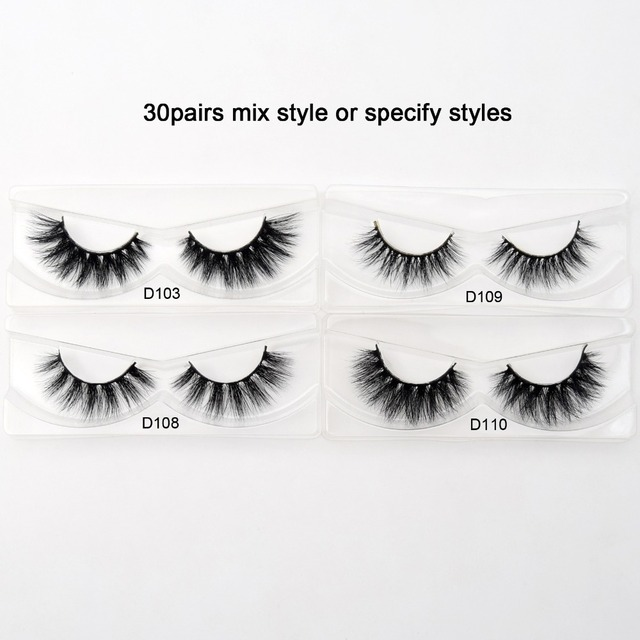 Visofree 30/40/100 Pairs 3D Mink Lashes With Tray No Box Handmade Full Strip Lashes Mink False Eyelashes Makeup eyelashes cilios 2