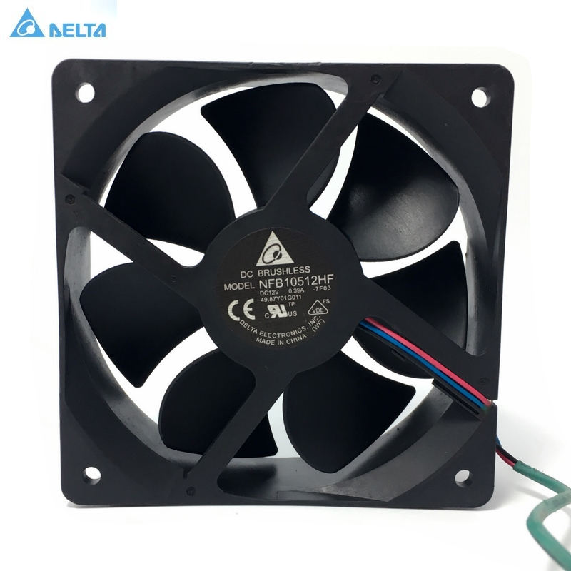 Cooling fan Delta NFB10512HF -7F03 DC 12V 0.39A 3-wire 3-pin connector 70mm 105x105x32mm Server Square Cooling fan free shipping for avc baaa0705r5hpoff dc 5v 0 40a 4 wire 4 pin connector server cooling square fan